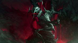 Превью обои чудовище, воин, арт, темный, броня