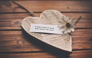 Превью обои чувства, любовь, романтика, жизнь, признание, слова, ромашка, сердце