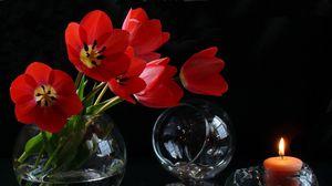 Превью обои цветы, бокалы, свеча