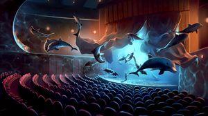 Превью обои дельфины, концерт, сюрреализм, музыкант