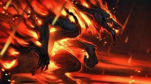 Превью обои хищник, огонь, арт, пламя