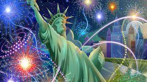 Превью обои день независимости сша, california, статуя свободы, салют