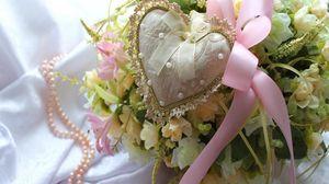 Превью обои день святого валентина, праздник, любовь, сердце, бант, цветы, букет, жемчуг, украшение