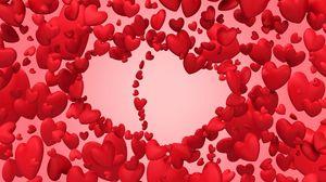 Превью обои день святого валентина, сердца, много, полет, любовь