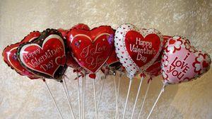 Превью обои день святого валентина, сердца, шарики, надписи, много