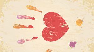 Превью обои день святого валентина, день всех влюбленных, отпечаток, рука, сердце