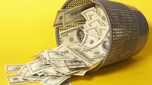Превью обои деньги, ведро, желтый, мусор