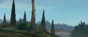 Превью обои деревья, холм, пейзаж, арт