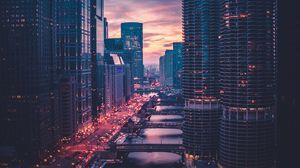 Превью обои чикаго, небоскребы, мосты, вечер