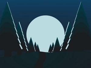 Превью обои деревья, луна, ночь, вектор, арт