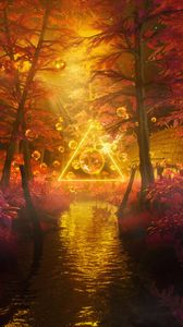 Превью обои деревья, вода, пузыри, треугольник, неон, свет, 3d