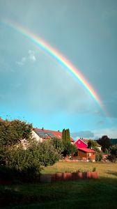 Превью обои деревня, домики, деревья, радуга, природа