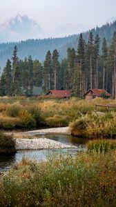 Превью обои деревня, домики, лес, пейзаж, природа