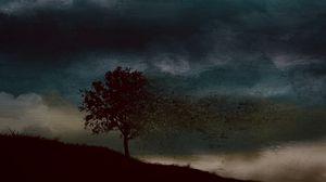 Превью обои дерево, мрак, арт, темный