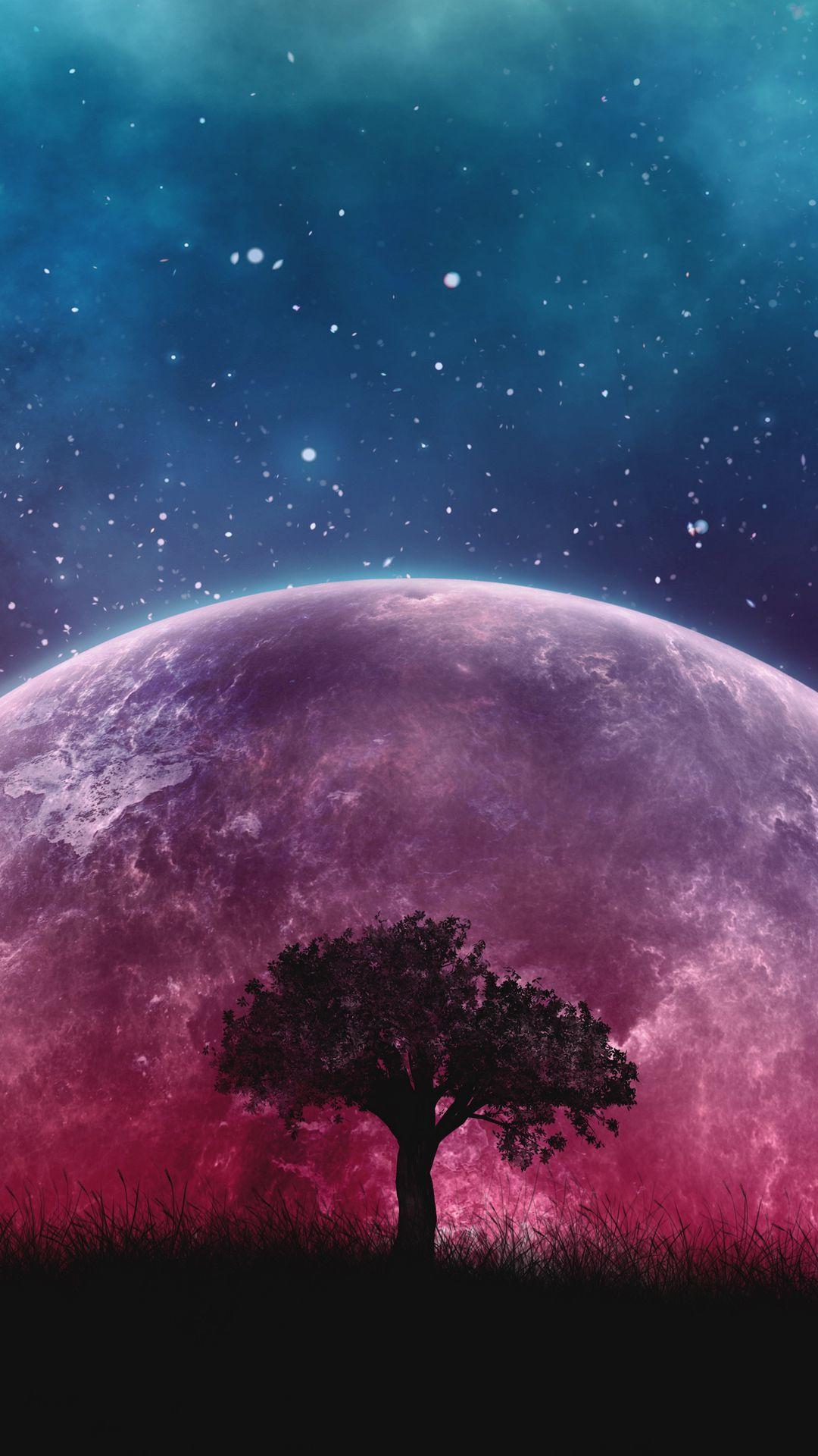 1080x1920 Обои дерево, планета, звезды, галактика, арт