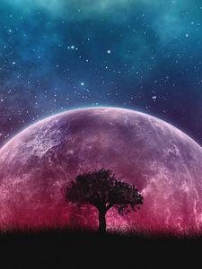 Превью обои дерево, планета, звезды, галактика, арт