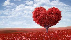 Превью обои дерево, сердце, фотошоп, поле, трава, романтика