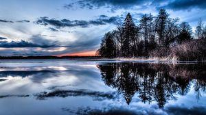 Превью обои деревья, озеро, река, вечер