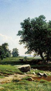 Превью обои деревья, природа, трава, небо, арт, живопись