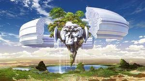 Превью обои деревья, земля, кусок, невесомость, механизм, небо, вода