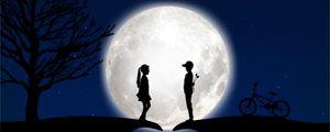 Превью обои дети, силуэты, любовь, луна, романтика