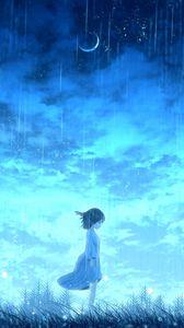 Превью обои девочка, дождь, аниме, свет, яркий
