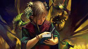 Превью обои девочка, эльф, книга, птицы, фэнтези
