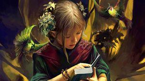 Превью обои девочка, книга, лес, птицы