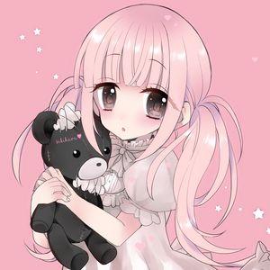 Превью обои девочка, медведь, игрушка, аниме, арт, розовый, милый