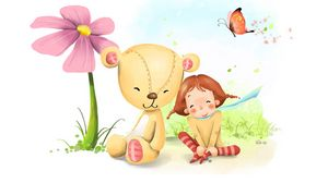 Превью обои девочка, мишка, цветок