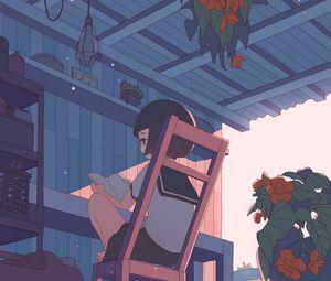 Превью обои девочка, школьница, чтение, аниме, арт