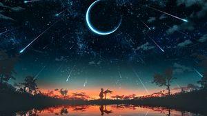 Превью обои девочка, силуэт, закат, луна, звезды, арт