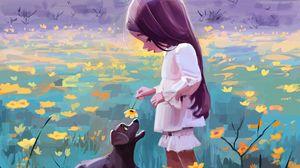 Превью обои девочка, собака, цветы, питомец, милый