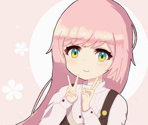 Превью обои девочка, улыбка, жест, аниме, арт, розовый