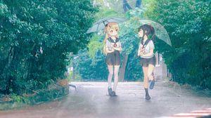 Превью обои девочки, подруги, зонтики, аниме, арт