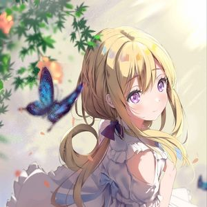 Превью обои девушка, бабочка, взгляд, аниме