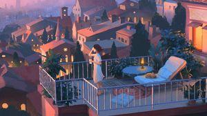 Превью обои девушка, балкон, арт, уединение, город, вечер