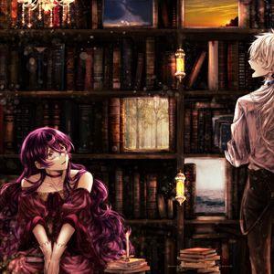 Превью обои девушка, библиотека, книги, аниме, арт, винтаж