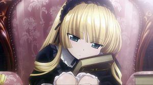 Превью обои девушка, блондинка, книга, чтение