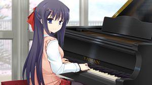 Превью обои девушка, брюнетка, игра, рояль