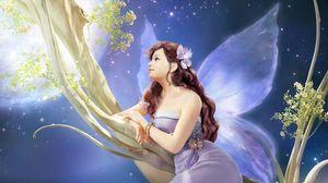 Превью обои девушка, фэнтези, фея, дерево
