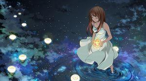 Превью обои девушка, фонари, вода, звезды