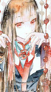 Превью обои девушка, кимоно, акварель, аниме, арт