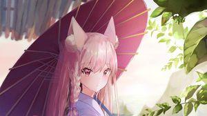 Превью обои девушка, кимоно, аниме, наряд, зонт, арт