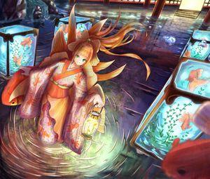 Превью обои девушка, кимоно, фонарь, подводный мир, аниме, арт