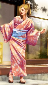 Превью обои девушка, кимоно, япония, арт