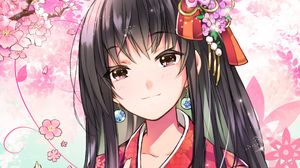 Превью обои девушка, кимоно, кандзаси, сакура, аниме
