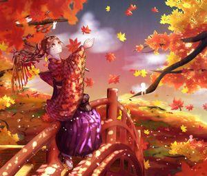 Превью обои девушка, кимоно, кленовые листья, осень, аниме