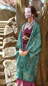 Превью обои девушка, кимоно, маска, арт, япония