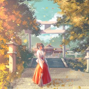 Превью обои девушка, кимоно, пагода, храм, аниме, арт